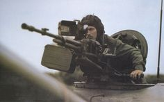 Hungarian People`s Army soldier operating a NSV heavy machine gun.