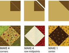 Make nine small square in a square quilt blocks for the Kansas Star quilt block.