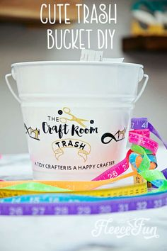 Cute Trash Can DIY for your craft space. Make your craft room tidy and cute with this fun to craft trash can. Beautiful step by step photos make it easy.