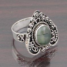 PREHNITE STONE 925 SOLID STERLING SILVER LADIS EXCLUSIVE RING 6.26g DJR4662 #Handmade #Ring