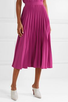 Magenta crepe Concealed zip fastening along side triacetate, polyester Dry clean Cos Skirts, White Heels, Street Look, Magenta, Midi Skirt, High Waisted Skirt, Dressing, Spring Summer, Zip