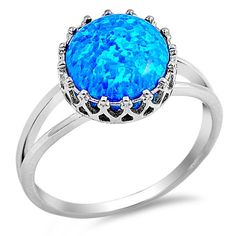 Sterling Silver Lab Blue Opal Crown Solitaire Ring 12MM