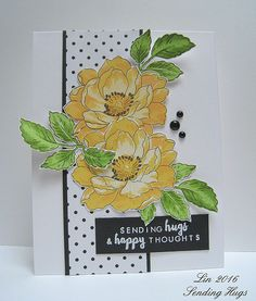 Beautiful Day: Altenew, 3 shades of yellow, flower sketch, Sending Hugs