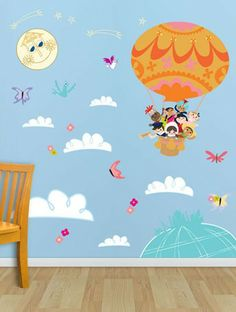 """Oopsy daisy, Fine Art for Kids presents Disney® """"It's a Small World - Balloon Explorers"""" fabric wall decals $119"""