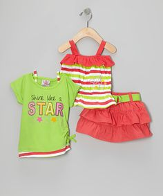 Take a look at this Orange Belted Tier Skirt Set - Infant & Toddler on zulily today!