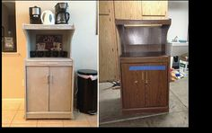 Refurbish old furniture- Found this Microwave cart at a Thrift Store for 30$. After some paint, baseboard trim and wood decals it turned into a Coffee bar for 60$.