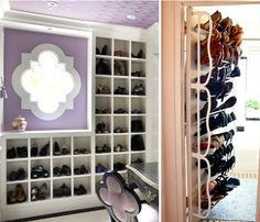 As variations of shelving, shoe cubbies and shoe racks, are other great options. Shoe cubbies (like those below left) fit one pair of shoes in each square. The separation of the pairs helps keep things neat. If one shoe topples over, for example, it won't create a domino effect and topple over the others.