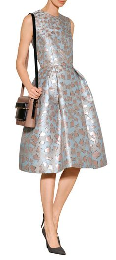 Rendered in pretty shades of pink gold and powder jacquard, Mary Katrantzou's fit and flare dress is a feminine choice for dress-up. Covered in abstract animal patterning, this voluminous sheath lends evening looks a touch of whimsy #Stylebop