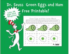 Green eggs and ham free sight word and letter recognition printable. Toddler through preschool activity www.misformonster.com