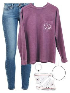 cute casual outfit ideas for college students, purple sweatshirt and jeans