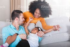 Playful young family at home. royalty-free stock photo