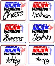 American Ninja Warrior Party Nametag Stickers ANW by rbcreation