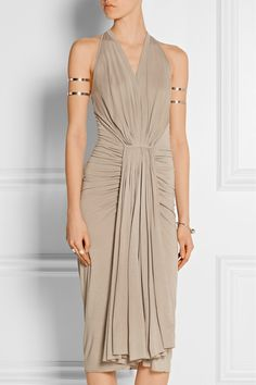 the wealth of fabric in very attractive draping. Rick Owens wrap jersey dress