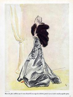 Molyneux 1937 Evening Gown, Zibeline Cape, Eric