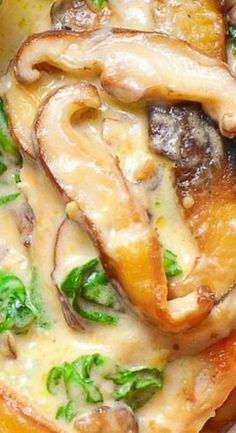 Chicken with Spinach and Mushrooms in Creamy Parmesan Sauce