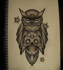 Bildergebnis für tattoo eule totenkopf