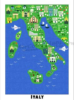 KIDS Maps ITALY Map for Kids Childrens Maps by WaterColorMaps, $22.50