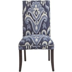 Pier 1 Imports Blue Angela Deluxe Dining Chair ($220) ❤ liked on Polyvore featuring home, furniture, chairs, dining chairs, chair, blue chair, pier 1 imports, traditional furniture, blue ikat chair and traditional chairs