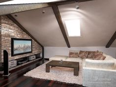 home decor cheap Attic Living Rooms, Attic Bedrooms, Loft Room, Bedroom Loft, Attic Design, Interior Design, Modern Small House Design, Tiny House Loft, Home Theater Rooms