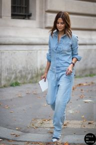 Christine Centenera of Vogue Australia wearing Off-white denim boiler suit before Chloé fashion show. Shop this look (or similar) here: Jumpsuit: MIH JEANS The Arconaut cotton-chambray jumpsuit Shoes: GIANVITO ROSSI Suede pumps STYLE DU MONDE on Instagram @styledumonde, Pinterest, Twitter, Tumblr