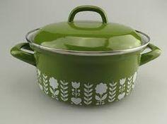 Vintage green enamel pan, scandi flowers, from Maybefranc