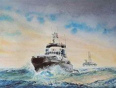 Tugboats, Ship Art, Sea, Ships, Painting, Tattoo, Watercolor Painting, Desk, Boats