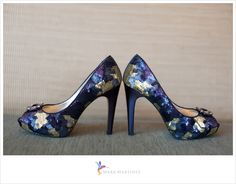Gorgeous, stylish, elegant and unique wedding bridal shoes by Nina of New York in a palette of blue, gold, and purple.