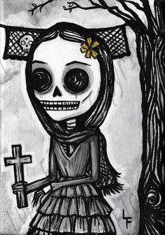 Dead religious lady  5x7 Day of the Dead art by ArtByLupeFlores, $6.99
