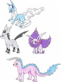 deviantART: More Like eevee fake evolutions sheet by Pokemon Eeveelutions, Eevee Evolutions, Pokemon Sketch, Pokemon Fake, Video Game, Pikachu, Moose Art, Geek Stuff, Kitty