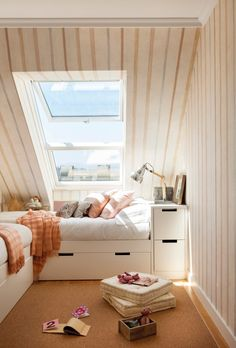 Small Apartment 60 M²: A Place For Holidays Of The Couple And Children - Home Design Ideas Teen Room Decor, Bedroom Decor, Bedroom Modern, Attic Bedroom Small, Attic Bathroom, Home Interior, Interior Design, Small Apartments, New Room