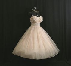 Vintage 1950's 50s STRAPLESS Baby Pink Ivory Flocked CHIFFON Organza Party Prom Wedding Dress Gown by VintageVortex on Etsy https://www.etsy.com/listing/202647989/vintage-1950s-50s-strapless-baby-pink
