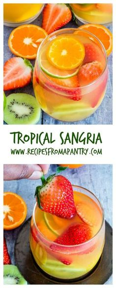 Here is an easy five ingredients tropical sangria recipe made with white wine, pineapple juice, passionfruit juice, dark rum and tropical fruits.This White Wine Sangria is just the cool refreshing treat that you need. A fun and fruity cocktail! Non Alcoholic Drinks, Fun Drinks, Yummy Drinks, Yummy Food, Beverages, Alcoholic Punch, Tequila Drinks, Vodka Cocktails, Tasty