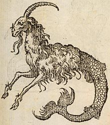 Capricorn (goat head and fish tail), from Devises heroïques, Claude Paradin, 1551. (French Emblems at Glasgow)
