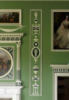 Headfort House, Eating Parlour, Robert Adam, detail of plasterwork on chimney wall following reinstatement.