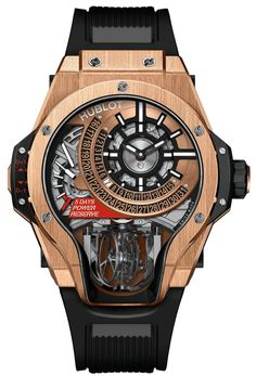 Latest launch from the Manufacture Piece (MP) collection. Hublot MP-09 Tourbillon Bi-Axis with a compelling 3-sided sapphire crystal case that tapers at 6 o\'clock specifically to display the double rotation of the bi-axial tourbillon.
