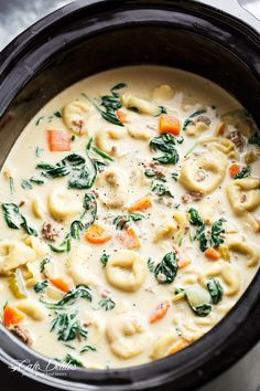 Slow Cooker Creamy Tortellini Soup | http://cafedelites.com. Add Mushrooms :)