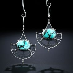 Metalsmiths Amy Buettner & Tucker Glasow. Hubei Turquoise Earrings. Fabricated Sterling Silver & 14k. www.amybuettner.com Turquoise Earrings, Jewelry Ideas, Amy, Sterling Silver, How To Make