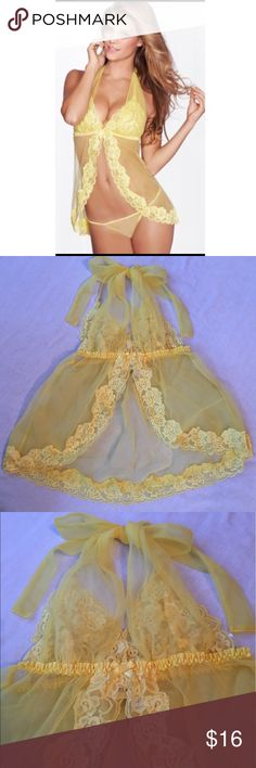 NWOT, Fredericks of Hollywood babydoll lingerie. Yellow lace & sheer babydoll lingerie with matching thong underwear. NWOT. Frederick's of Hollywood Intimates & Sleepwear