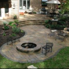 This would work in the back yard ... It would leave a planter for the sycamore, and we can make a large patio out of the current step outside the French doors.