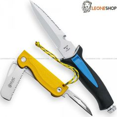 """MAC AQUATYS STILETTO Diving Knife + MAC MAGELLANVS Nautical Knife MC-AQT-MGV-S, professional scuba divers and nautical diving knives, Aquatys Stiletto knife with serrated blade of W1.4116 stainless steel of high quality mirror polish finished - HRC 55/56 - Blade lenght 4.7"""" - Thickness 0.16"""" - Handle of PP and TPE Black/Blue overmold, a plastic material with non-slip rubber - Overall lenght 9.4"""" - Equipped with ABS sheath with rubber straps for legs or arms - Magellanvs Nautical Knife with…"""