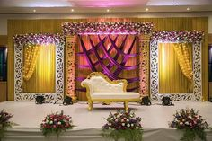 For those who are in search for a floral,elegant decor, make sure to check out t. For those who are in search for a floral,elegant decor, make sure to check out this one inspiration. Truly adore the mix. Indian Wedding Stage, Wedding Hall Decorations, Wedding Stage Design, Wedding Reception Backdrop, Marriage Decoration, Backdrop Decorations, Balloon Decorations, Wedding Mandap, Engagement Stage Decoration