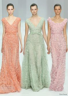 elie saab spring 2012 couture collection - candy colored gowns -- That is the seafoam green I want. Traje Black Tie, Elie Saab Spring, Bridesmaid Dresses, Wedding Dresses, Pastel Bridesmaids, Mode Style, Beautiful Gowns, Dream Dress, Pretty Dresses