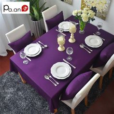 Purple 100% cotton rectangular table cloth european solid tablecloth for party weddings hotel kitchen table cover high quality