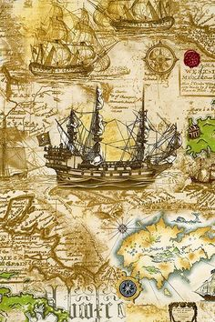 Papel Vintage, Decoupage Vintage, Vintage Maps, Antique Maps, Bateau Pirate, Pirate Maps, Legends And Myths, Old Maps, Vintage Artwork