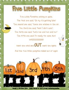 Decorate, entertain and have a singing good time in your classroom with these colorful songs for Halloween.  Included are, Five Little Pumpkins, I'...