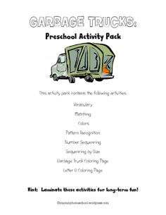 g is for garbage truck, free printable pre k pack, love the cake!