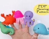 sea creatures  PDF Pattern: Zoo Friends 01 Felt Finger Puppets. $5.00, via Etsy.