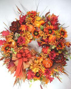 Fall Autumn Pumpkin Gourds Bright Orange Gold Wreath by Ed The Wreath Guy Gold Wreath, Autumn Wreaths, Fall Pumpkins, Gourds, Guy, Bright, Orange, Floral, Fall Wreaths