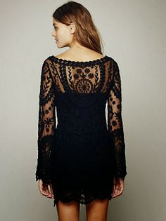 Free People Black Bell Sleeves Lace Dress // sometimes I want to buy a hundred things at Free people.