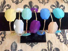 Colorful gold wire wrap bangle bracelet: Seafoam, Caribbean Blue, Pink, White, Purple, Yellow, Champagne, Blue